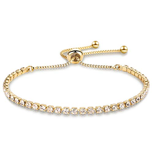 Zealmer Shoopic White Cubic Zirconia Adjustable Bolo Bracelet 14K Gold Plated