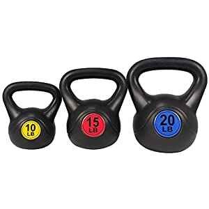 Well-Being-Matters 41IPBlPefzL._SS300_ BalanceFrom Wide Grip 3-Piece Kettlebell Exercise Fitness Weight Set, Include 5 lbs, 10 lbs, 15 lbs or 10 lbs, 15 lbs…