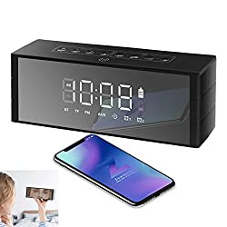 Bluetooth Speaker Portable Wireless, ZealSound Loud Bluetooth Speaker with LED Clock, Dual Driver, LED Display with Dimmer, FM Radio, Alarm Clock, Rich Bass, Built-in Mic, TF Card Play (Black)