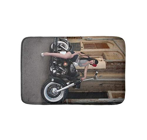 Bathlink Quick-Dry, Super Absorbent Anti-Slip Resistant Bathroom Mat Soft Bath Rug and Shower Carpet Downtown Alley Motorcycle Rockabilly Pin Up Girl (24 X 16 -