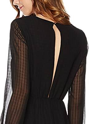 Plumberry Women's Sheer-Overlay Long-Sleeve A-Line Dress With Split Back