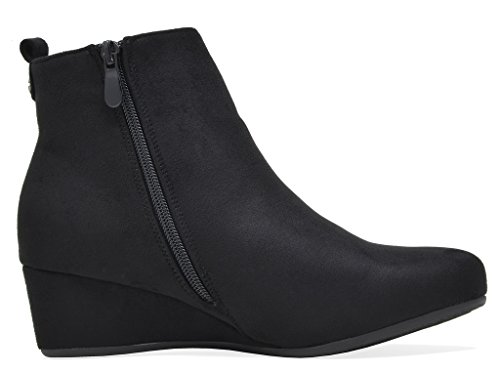 Traumpaare Frauen CINQ Low Wedge Ankle Boots Schwarz.