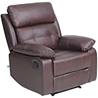 Top Grain Leather Sofa Set 1 seat Sofa Recliner Chair with Overstuff Armrest/Headrest, Brown