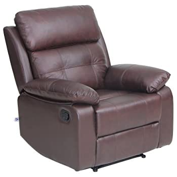 Top Grain Leather Sofa Set 1 Seat Sofa Recliner Chair With Overstuff  Armrest/Headrest,