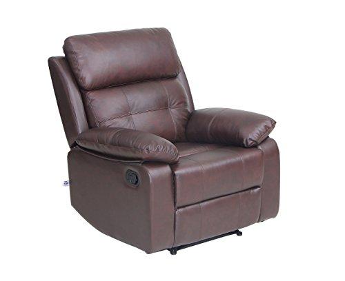 VIVA HOME Top Grain Leather Sofa Set 1 seat Sofa Recliner Chair with Overstuff Armrest/Headrest, Brown