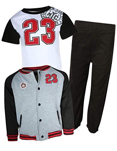 Quad Seven 3-Piece Fashion Pant Set, Jacket, T-Shirt, and Pants, Grey Varsity, Size 4T' -