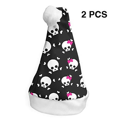 TNC2P White Skull Womens Santa Hat, Polyester Flannel Christmas Hat Comfort -
