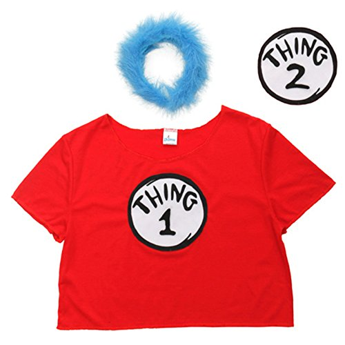 Amazon.com  elope Women s Dr. Seuss Thing 1   2 Crop Top Costume Kit  (Large X-Large)  Clothing 07989cc60521