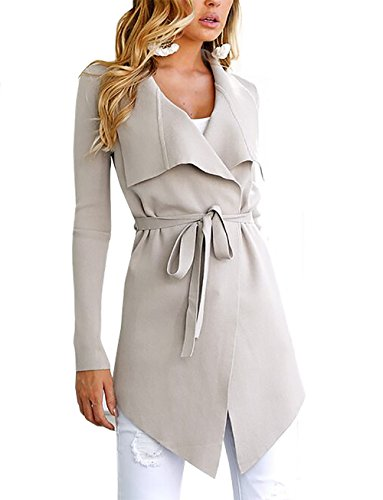 PRETTYGARDEN Women's Open Front Long Sleeve Raw Cut Hem Waterfall Collar Irregular Trench Coat Cardigan with Belt (Apricot, Small) by PRETTYGARDEN