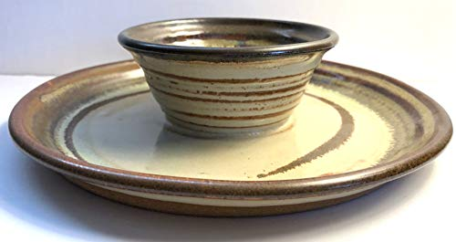 Hand Made Ceramic Stoneware Pottery Dip Tray with Handle Hand Painted and Glazed (Brown-Beige)