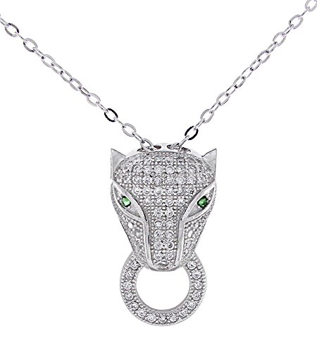 White Gold Panther - AFFY Panther Leopard Pendant Necklace Simulated Emerald & Cubic Zirconia White Gold Over Sterling Silver