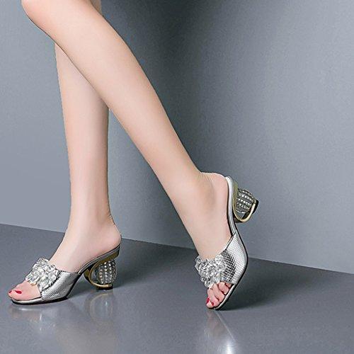 Modo Grezzi Della Femminile Aperto Pistoni Scarpe Tallone Sandali Molla Argento Alto Pattini Punta Tacco Rhinestone 1wdqYSX