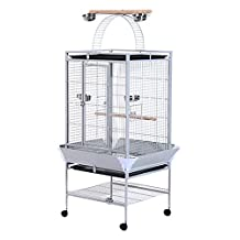 """PawHut D10-016 63"""" Large Bird Parrot Cage Stand Finch Feeder Play Top House Perch Bowl Wheels, Silver"""