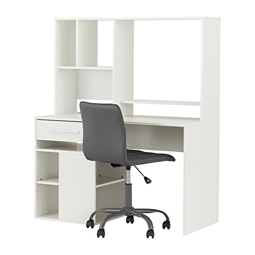 South Shore Annexe Pure White Desk & Gray Office Chair with Quilted Seat by South Shore