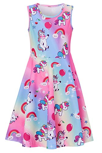 Girls Sleeveless Dress 3D Print Cute Cloud Rainbow Unicorn Red Balloon Pattern Colorful Summer Dress Casual Swing Theme Birthday Party Sundress Toddler Kids Twirly Skirt