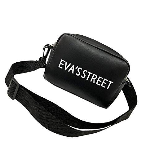 Hobo Bags, Women's Flap Letter Bag Patent PU Leather Broadband Crossbody Shoulder Bag Satchels(Black) ()