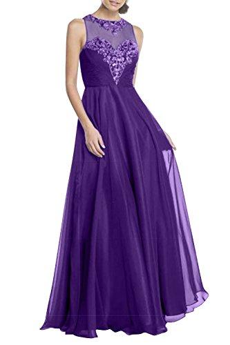 Promkleider Charmant Blau Chiffon Abendkleider Lila Hundkragen Ballkleider Royal Damen Lang Abschlussballkleider x7UwpqH