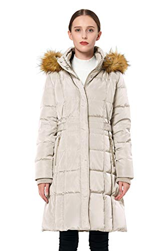 (Orolay Women's Puffer Down Coat Winter Jacket with Faux Fur Trim Hood YRF8020Q Beige M)