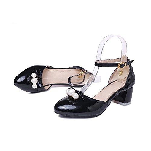 Allhqfashion Para Mujer Con Punta Cerrada Kitten-heels Charol Solid Hebilla Sandalias Negro