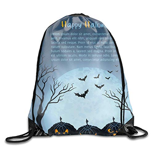 Mastexoru drawstring backpack 1 Pieces Drawstring Bag Blue Halloween Pumpkins Sack Pack Cinch Tote Kids Adults Storage Bag for Gym Traveling (Multicolored)]()