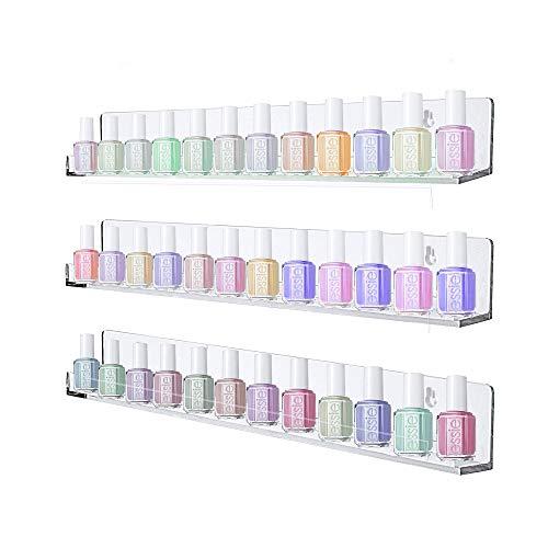 Aifaifa Acrylic Floating Shelf, Clear Nail Polish Rack, Wall Mount Bookshelf/Essential Oil/Cosmetic Displaying Organizer Storage, Thicken 3 Pack