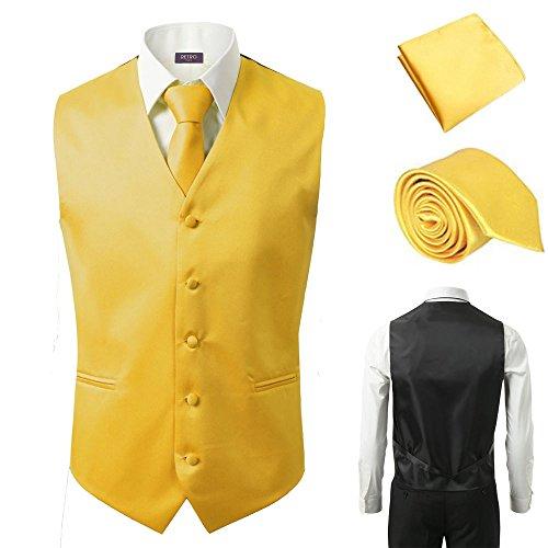 3 Pcs Vest + Tie + Hankie Men's Fashion Formal Dress Suit Slim Tuxedo Waistcoat Coat (Medium, Yellow) by Sugo