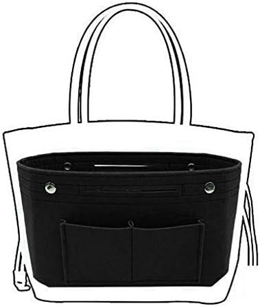 DEESEE(TM) レディースハンドバッグオーガナイザーバッグ 財布インサートバッグ フェルトマルチポケットトート 便利なバッグ 55cm x 72cm ブラック