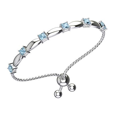 Belinda Jewelz Womens 925 Sterling Silver Sparkling Square Bolo Gemstone Adjustable Tennis Style Pull String Birthstone Jewelry Fine Bracelet, 2.5 Carat Blue Topaz, 11 Inch Box Chain