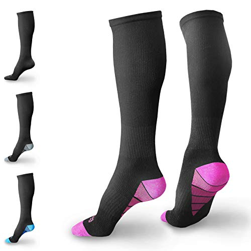 BAMS Premium Bamboo Compression Socks for Men, Women- Best Soft Antibacterial 20-30 mmHg Medical Graduated Knee-High Sock with NEW Odor-Kill Technology