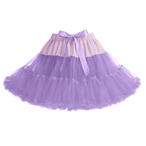 IVNIS RS90010 Women's Petticoat Tutu Skirt 2 Layered Ballet Dance Pettiskirt Mini Skirt Lavender S by IVNIS