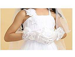 Girls Wedding Pageant Party Full Length Satin Bowknot Dress Formal Wrist Gloves White