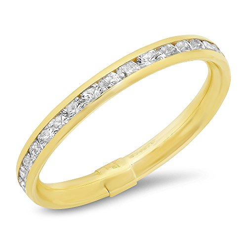 14 K White and Yellow Gold Italy 2mm Eternity Wedding Band Ring,size7