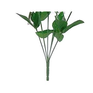 2 Bushes Open Rose Artificial Silk Flowers Bouquet 6-7203 Royal Blue 4