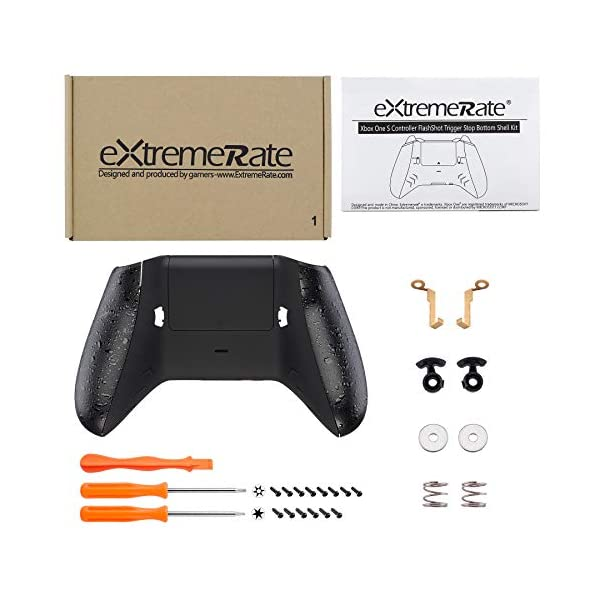 eXtremeRate FlashShot Trigger Stop Bottom Shell Kit for Xbox One S & One X Controller, Redesigned Back Shell & Textured Black Handle Grips & Hair Trigger for Xbox One S X Controller Model 1708 3