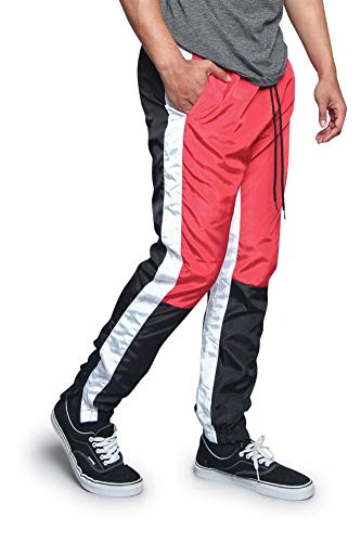 G-Style USA Men's Tri Color Premium Nylon Dual Striped Drawstring Windbreaker Track Pants with Outer Ankle Zipper TR543 - Red - Small - V7D