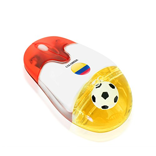 Plutus Luxury Soccer Gift Colombia 2.4G Wireless Optical Mouse with USB Receiver Colombian National Flag from Plutus Luxury