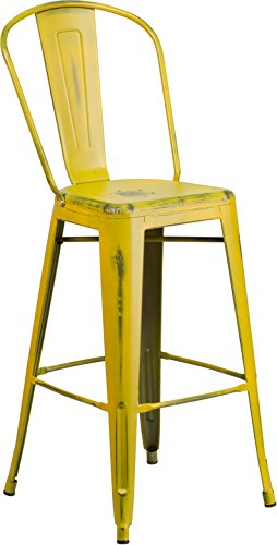 Emma + Oliver 30'' H Distressed Yellow Metal Indoor-Outdoor Barstool w/Back by Emma + Oliver