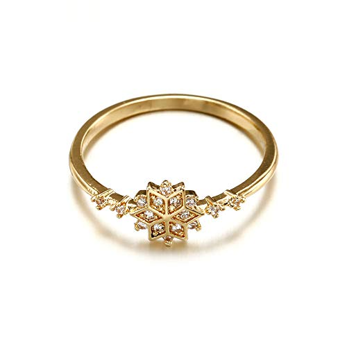 Uscharm Golden Rings for Girls Fashion Ring Snowflake Engagement Gift Set With Diamond Ring (GD9) by Uscharm (Image #1)