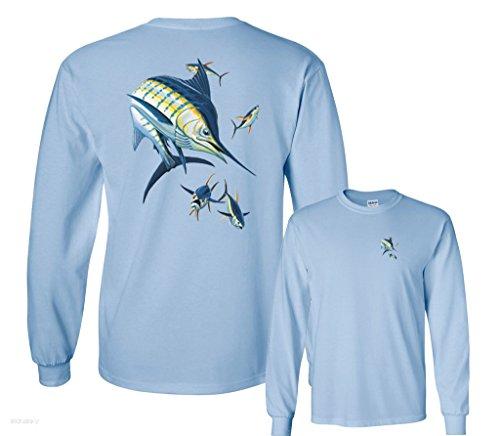 Fair Game 4 Yellowfin Tuna Blue Marlin Fishing Long Sleeve T-Shirt-Light Blue-XL (Marlin Fishing Blue)