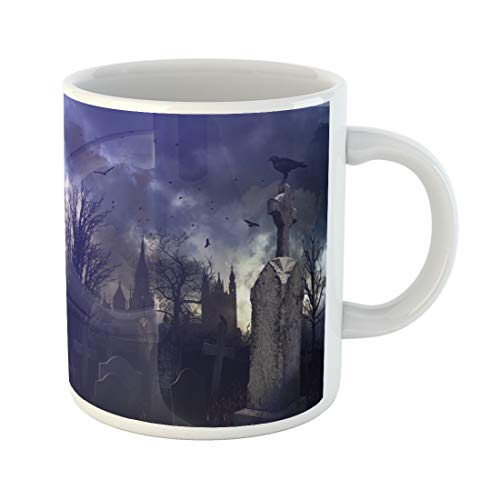 (Semtomn Funny Coffee Mug Tree Halloween Night Scene in Spooky Graveyard Cemetery Scary 11 Oz Ceramic Coffee Mugs Tea Cup Best Gift Or)