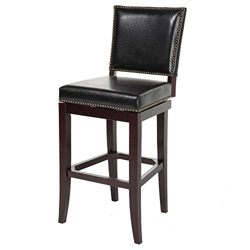 Leggett Platt Sacramento Swivel Seat Bar Stool with Espresso Finished Wood Frame, Black Faux Leather Upholstery and Nailhead Trim, 30-Inch Seat Height