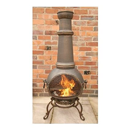 Amazon.com: Gardeco Toledo Cast Iron Chimenea - Jumbo Bronze ...