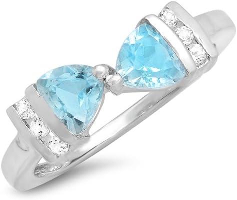 New 925 Sliver White Topaz Luxury Bow Ring Wedding Engagement Wholesale Jewelry