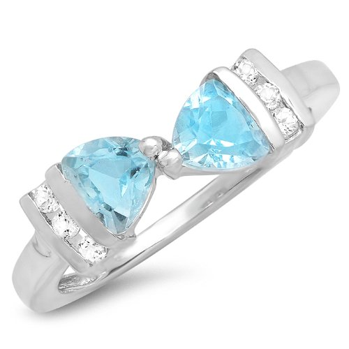 1ct tw Blue and White Topaz Trillion Bow Tie Ring in Sterling Silver(Available Sizes 5-7) - Topaz Bow