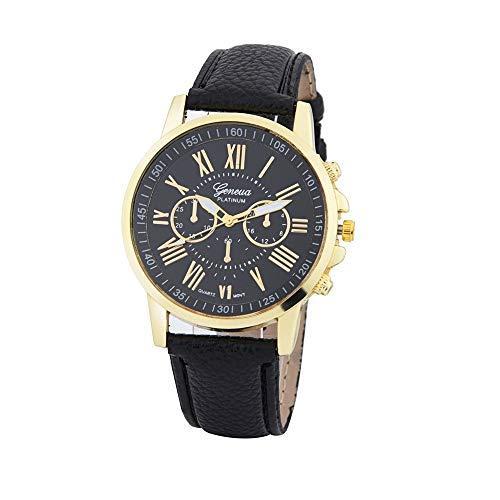 Clearance Sale!DEESEE(TM)Women's Fashion Geneva Roman Numerals Faux Leather Analog Quartz Wrist Watch (Black)