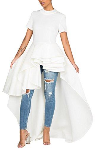 Kearia Women Ruffle High Low Asymmetrical Turtleneck Short Sleeves Tops Blouse Shirt Dress White XXLarge ()
