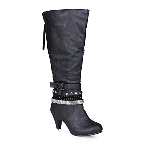 Style Calf High Boot (Twisted Women's Alla Wide Width Faux Leather Knee-High Heeled Fashion Boot with Multi Straps - BLACK, Size)