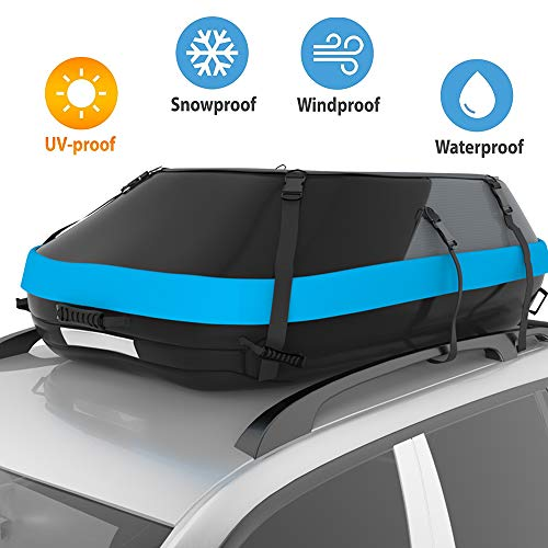 (STDY 20 Cubic Feet Rooftop Cargo Top Carrier Bag,Travel Cargo Bag Box Storage Luggage by Waterproof 600-Denier Polyester Material-with Easy to Install Straps-Soft Shell Luggage Rack Bag (20 Cubic))