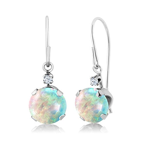 1.33 Ct Round Cabochon White Simulated Opal 14K White Gold Earrings (Opal Gold Gemstone)