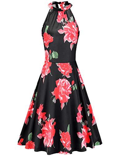 OUGES Women's Halter Neck Floral Summer Casual Sundress(Floral-16,L)